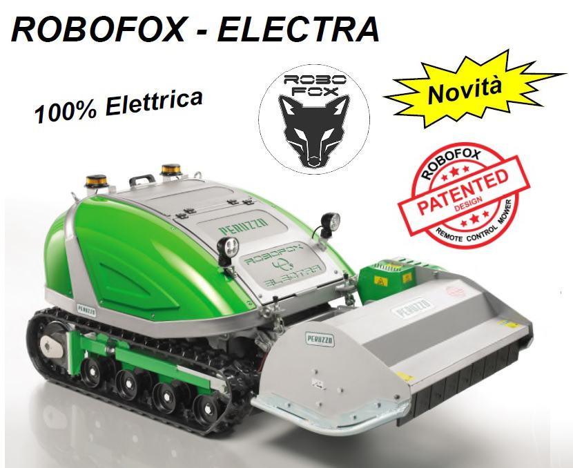 , FULL ELECTRIC self-propelled remote-controlled flail mower ROBOFOX ELECTRA, Peruzzo